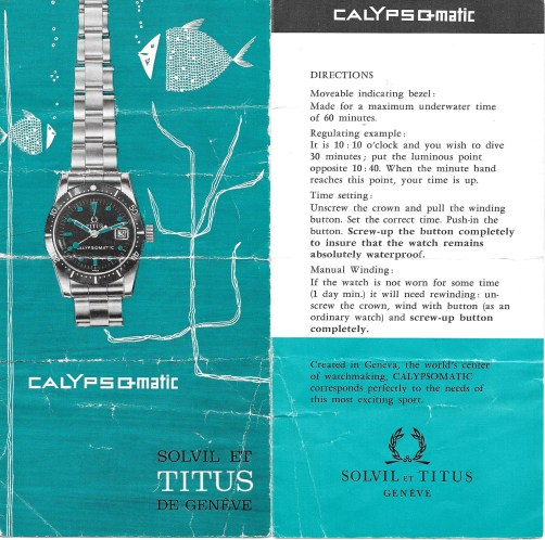TITUS Calypsomatic réf. 5913 Série 1 Brochure - Img Watcheswithpatina 02