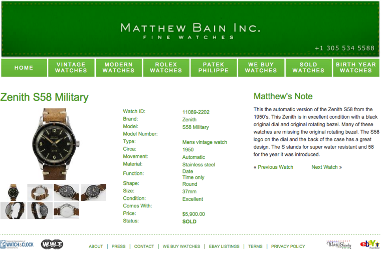ZENITH S..58 - Vente Matthew Bain 2016