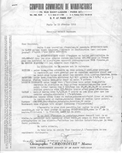 Lettre de M. Parmentier à M. Dodane concernant la Triton Spirotechnique, février 1962.