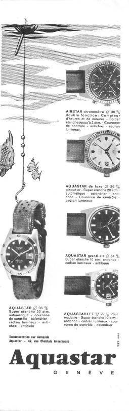 AQUASTAR : catalogue d'époque laissant apercevoir le modèle Airstar.