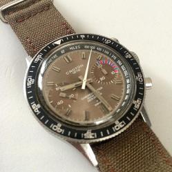 """CROTON Chronomaster Aviator Sea Diver, cadran """"soleillé"""" et rehaut tachymétrique, cal. Valjoux 7733."""