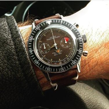 CROTON NIVADA GRENCHEN Chronograph Aviator Seadiver, circa 1960