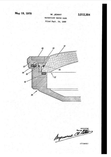 JENNY : brevet de boîtier étanche. Le dessin décrit le montage de la lunette vissée imaginée pour maintenir le verre sur la carrure, un joint assurant la parfaite étanchéité.