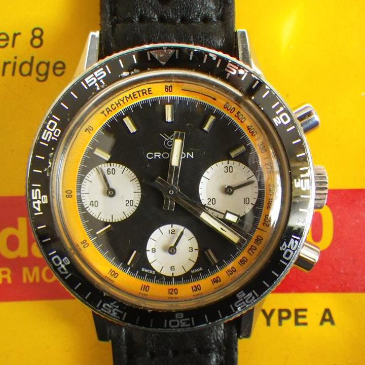 CROTON chronographe, cal. Valjoux 7736, circa 1970.
