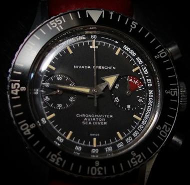 NIVADA GRENCHEN Chronomaster Aviator Sea DIver, cal. Valjoux 92, circa 1965.