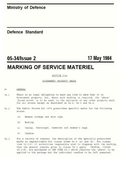 BRITISH MINISTRY OF DEFENSE, Broad Arrow specification, 1984.