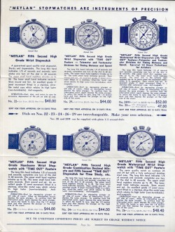 MEYLAN, catalogue de chronographes, circa 1950.